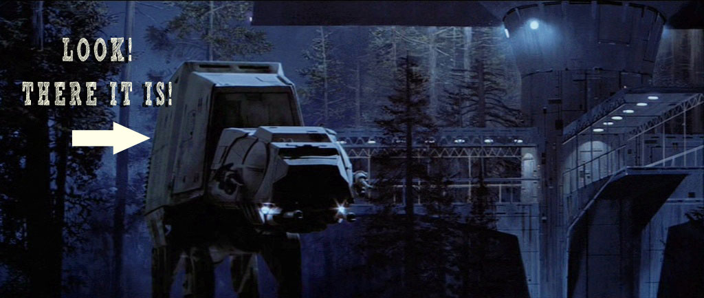 AT AT Comes to Rest on the Forest Moon Called Endor While Dropping Off Luke Skywalker