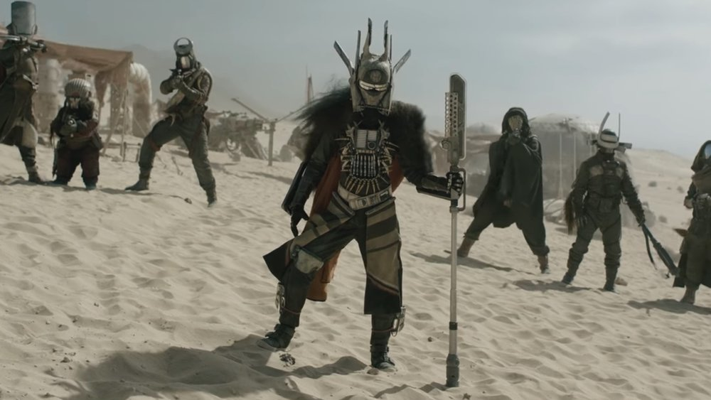 Enfys Nest and her band of marauders from Solo A Star Wars Story during the climactic scene on Savareen.